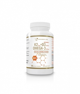 Progress Labs K2 MK7 50mcg + D3 2000 + Omega 3 | 90 kaps.